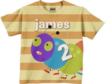 Boys Birthday Shirt, Personalized Caterpillar Bug Number T-Shirt