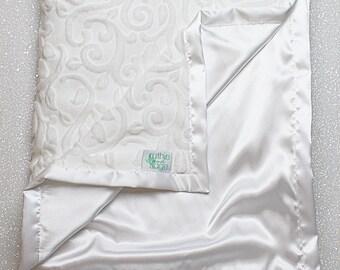 Minky Blanket, baby girl, adult blanket, white blanket, vine minky, baby boy, elegant blanket, silky blanket, satin blanket, baptism blanket