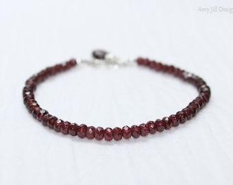 Garnet Bracelet, Sterling Silver, Wire Wrap Stone, Garnet Jewelry, January Birthstone, Red Gemstone Jewelry