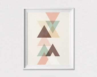 Minimalist poster, Geometric art print, Triangle art, housewarming gift, new home gift, Wall art, Scandinavian art poster, ArtFilesVicky