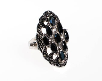 Vintage Hematite and Marcasite Victorian Gothic Revival Ring, Silver Setting