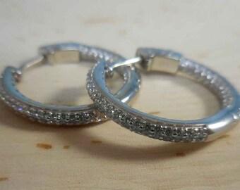 Silver Crystal Hoop Earrings