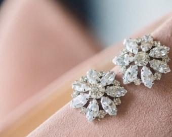 Bridal Earrings, Art Deco Crystal Rhinestone Wedding Earrings, Flower Crystal Cluster Stud Earrings, Old Hollywood Bridal Jewelry, TILDA