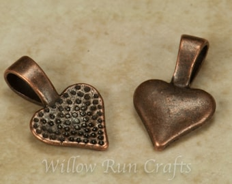 50 Antique Copper Heart Bails Small Bails (07-06-320)