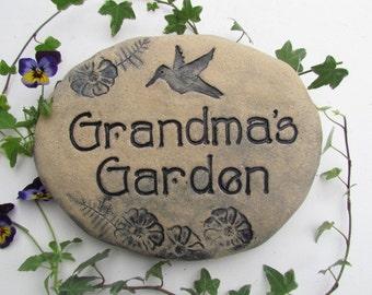"Grandma gift, ""Grandma's Garden"" ceramic plaque. Grandma garden stone, Grandma sign, Grandmother Mother's day gift. Hummingbird Outdoor art"