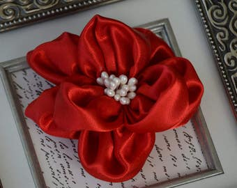 """Red Satin Flower , 4"""" Satin Pearl Fabric Flowers, Extra Large Satin Flowers, Satin Fabric Flowers, Red Satin Flowers"""