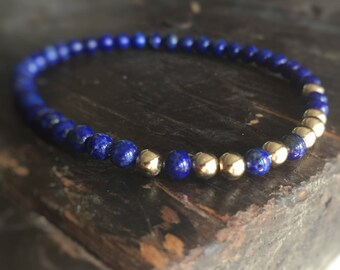 Constellation Bracelet with Lapis Lazuli and 14K Gold Filled Beads - Elegant Super-Lux