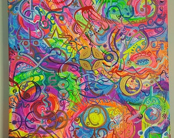 Moon Glyphs - psychedelic acrylic painting on canvas