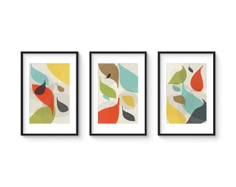 FLOW Set no.2 - Collection of (3) Giclee Prints - Mid Century Modern Danish Modern Abstract Art Eames Style