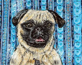 pug art - PUG PRINT, 11x14 dog print , gift for dentist - pug art - modern dog art - folk art -dog print, bathroom art print - pug gifts