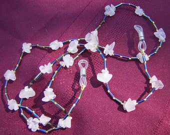 Handmade Eyeglass Chain - Bright Cheerful Rose Quartz & Peacock Bugle Beads by JewelryArtistry - L224