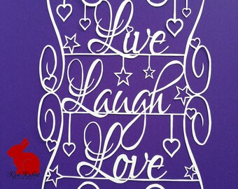 Live, Laugh, Love stars and hearts papercut paper cutting papercutting jpeg template