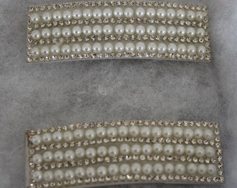 Rhinestone and pearl imitation Hair clips