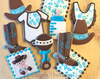 Decorated COWBOY themed cookies for boy or girl baby shower, birthdays and more.  CUSTOMIZE your colors and details.