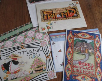 set of 3 Vintage Mary Engelbreit new home, thank-you, and friend assorted greeting cards and envelopes