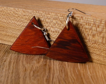 Triangular earrings orange red padauk wood