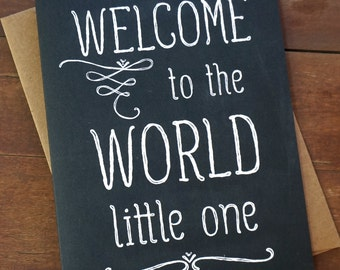 Welcome Baby Card - Welcome to the World Baby Shower Card - New Baby Card - Congratulations Baby Card Cute - Welcome Little One
