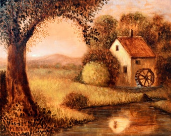 """MBevia Original oil painting 9.5x12"""" landscape old watermill lake sunset water antique style painting, european Art"""