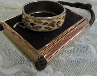 Vintage Leopard Fiber Cuff Bracelet Snap Open Cuff Bracelet Mid Century Cuff