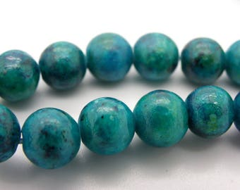 20 8 mm chrysocolla stones has round natural stone