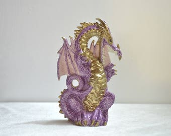 Ceramic Dragon Statue ~ purple and gold