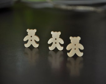 12pcs+ Zakka Bear Wooden Buttons