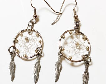 Dreamcatcher Earrings - Native American, Sterling Silver, Feather Dangles, Silver Beads, Vintage