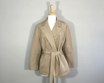 Ultra Suede  Women's Blazer Robe Style Jacket Belted Women's Blazer 80s Jacket Taupe Jacket
