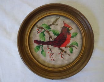 Needlepoint Cardinal in Round Frame, Vintage Framed Bird Needlework