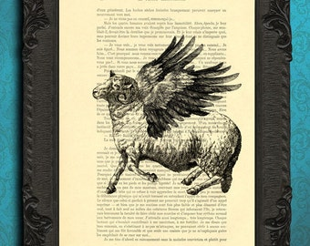 sheep with wings print flying sheep art