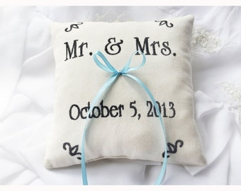 Mr & Mrs Personalized Wedding ring pillow , ring pillow, Custom embroidery pillow, Monogrammed Ring Bearer Pillow (R67)