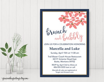 Morning After Brunch Invitations, Brunch & Bubbly Couples Shower Invitation, Rehearsal Dinner Invitation, Couples Wedding Shower,   BW11015