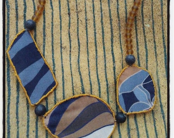 Blue and yellow ochre fabric necklace