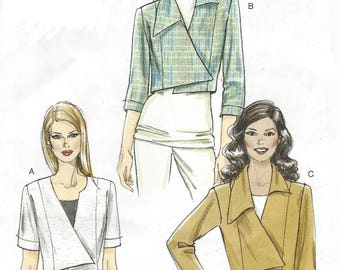 Womens Waist Length Jacket with Asymmetrical Front 3 Sleeve Lengths OOP Vogue Sewing Pattern V8673 Size 6 8 10 12 Bust 30 1/2 to 34 UnCut