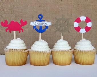Nautical birthday/baby shower cupcake toppers