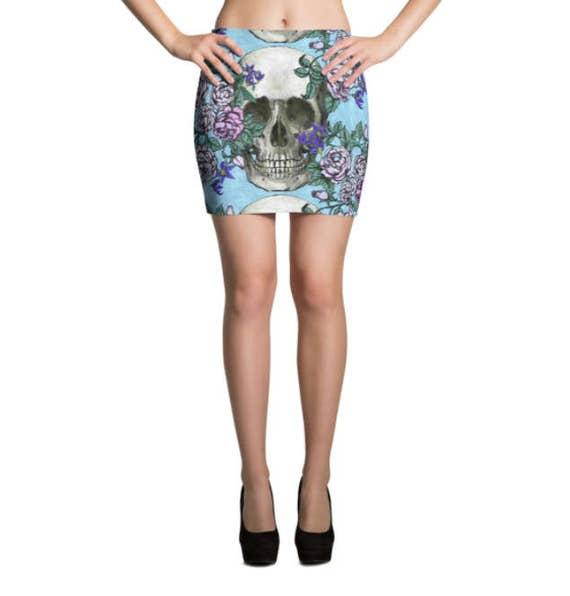 Skulls and Roses Mini Skirt