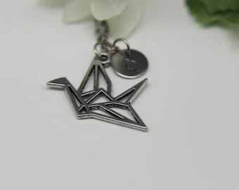 Origami Crane Necklace Japanese Crane Necklace Bird Necklace Silver Origami Crane Jewelry Personalized Necklace Initial Necklace