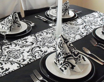 Black and White Napkins Wedding Table Centerpiece Floral Damask Fabric Napkins Set Table Linens Decor