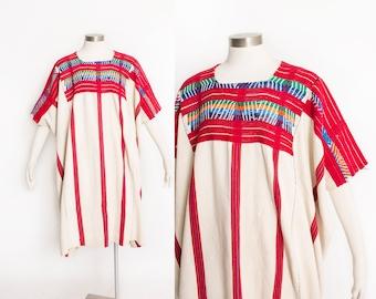 Vintage HUIPIL Dress - Gatemalan Hand Woven Embroidered Cotton Boho Poncho 1970s