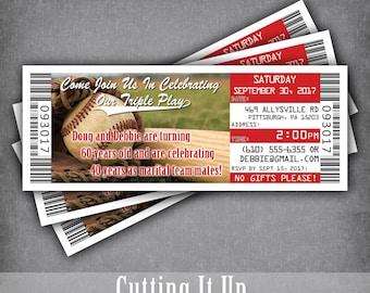 Baseball Anniversary Ticket Invitation, Baseball Invites, Sports Theme, Birthday Party, Template, Philadelphia Phillies