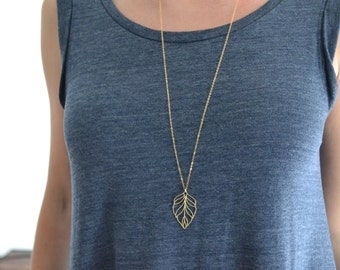 14K Gold Leaf Necklace, Gold Necklace Boho, Long Necklace with Pendant Boho Jewelry, Necklace Chain, Long Layered, Delicate, Gold Leaf Charm