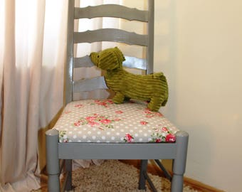 Shabby Chic Occasional Kitchen Chair, Farrow & Ball Eggshell Vintage Rose Fabric