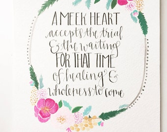 Neill F. Marriott Quote- Handmade with Watercolor Wreath