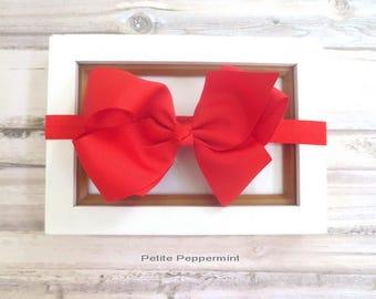 Red bow baby headband, baby head band bow, newborn headband, toddler headband, red baby hair bow, girl headband, red girl headband