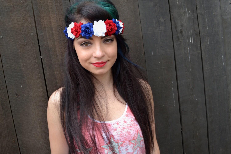 Red White Blue Flower Headband Rose Headband Leather