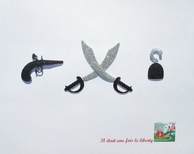 Applied fusing pirate pistols sword hook in black and silver applique glitter flex arms of the ground pirate fusible patch