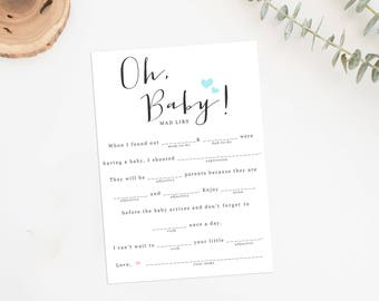 Baby Shower Mad Libs, Printable Baby Shower Game, Baby Shower Fill in the Blanks, Advice for Mommy Cards