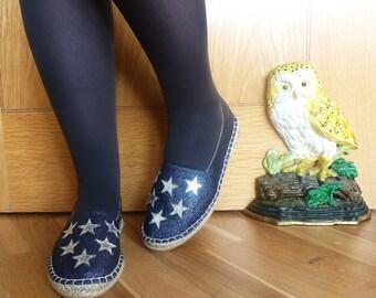 Silver Star Navy Glitter Espadrilles