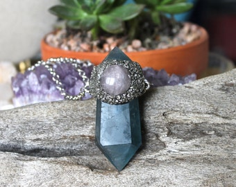 LARGE Blue Fluorite Necklace - Rose Quartz Jewelry - Stone Necklace - Blue Stone Jewelry - Wiccan Pendant - Boho Chic - Bohemian Necklace