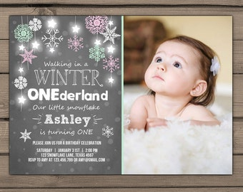 Winter ONEderland invitation Birthday party invite First birthday party Winter ONEderland Snowflakes Chalkboard Pink Mint PRINTABLE wost